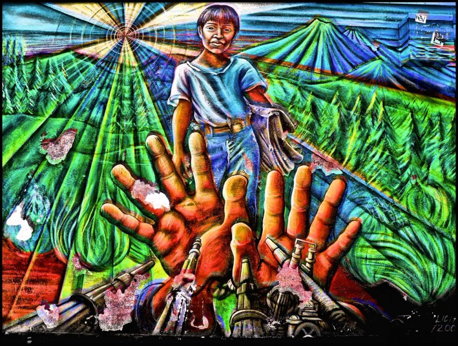 A section of a mural on South Van Ness Street in San Francisco. The section shows hands raised to protect a young Mexican woman from being shot the military. I call the photo 'Por Favor'