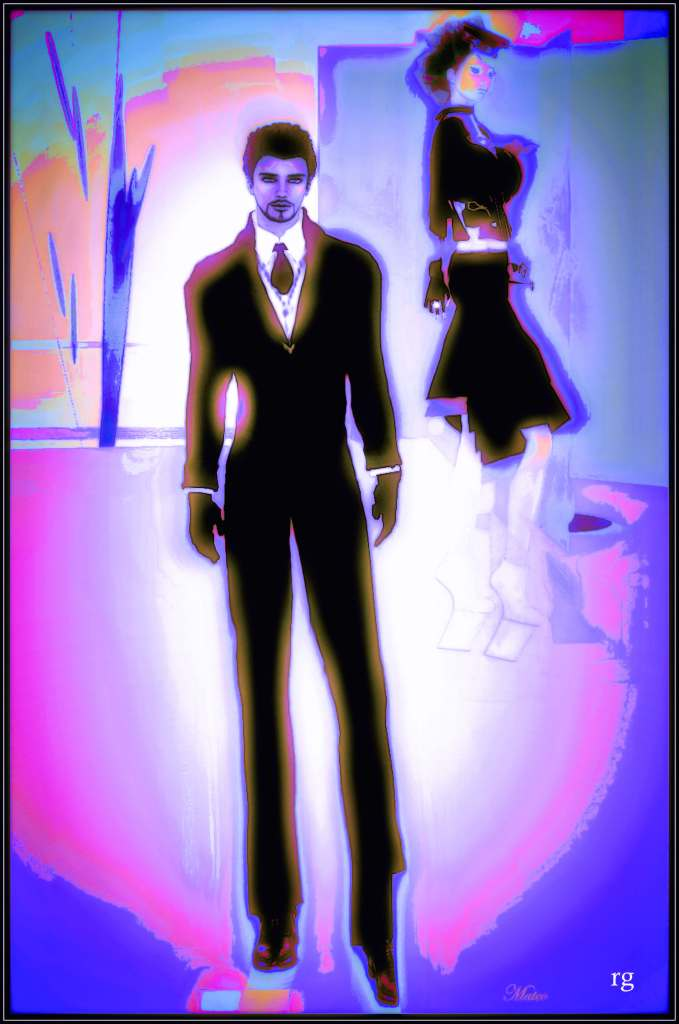A Virtual reality photograph of a male and a female avatar in front of a white mist surrounded by pink and lavander
