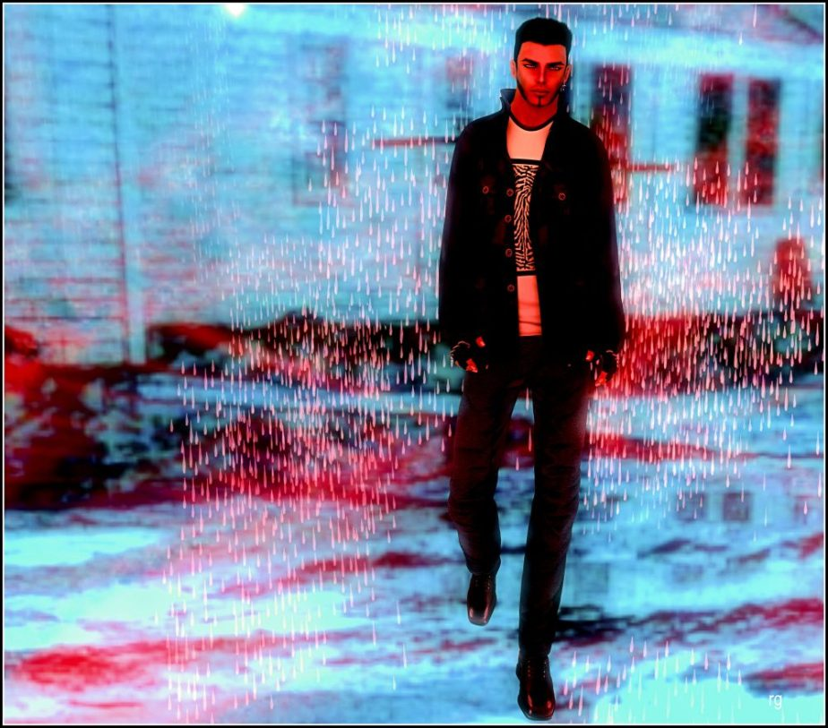 Photo of a male avatar walking in the rain against the backdrop of a black and white snapshot of public housing