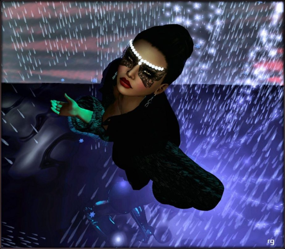 A female avatar in rainfall wearing a fur and a mask