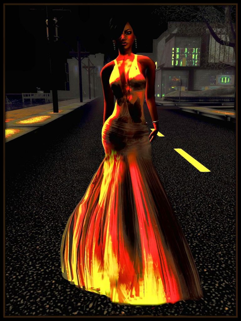 Second Life photo of a female avatar in a golden gown walking on a dark urban street