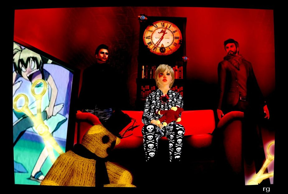 A screenshot of VR avatars staged to represent a child alternate named Peter, a protector alternate named Bobby and a storyteller alternate named the Narrator