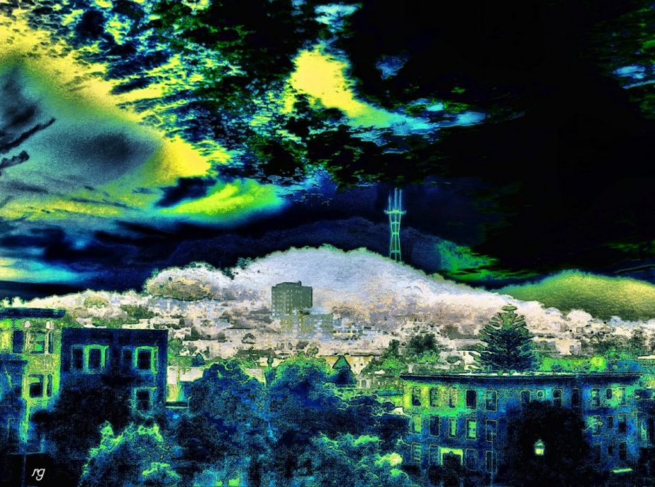 A heavily processed photo of Twin Peaks from Alamo Square Park in San Francisco in greens and whites and yellows