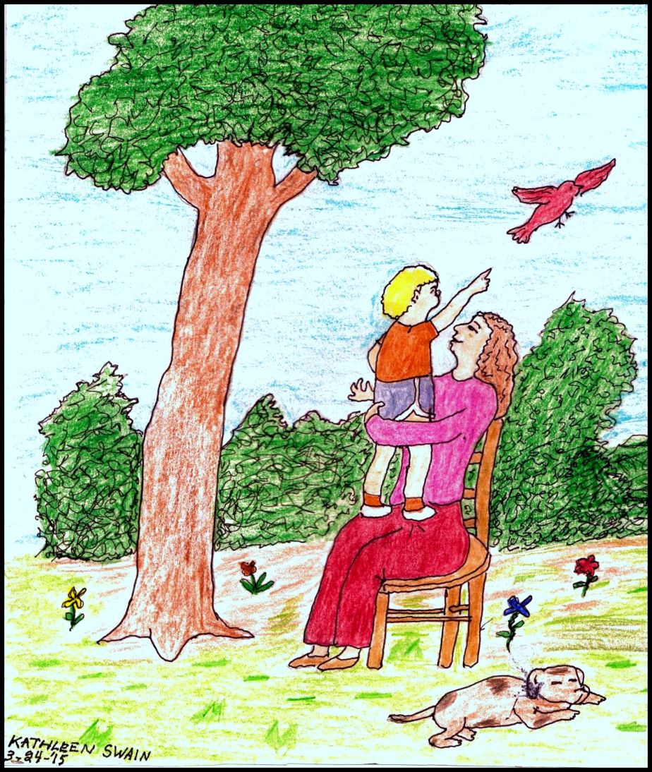 A hand colored drawing of a mother holding a little boy on her lap as he points to a bird in flight.