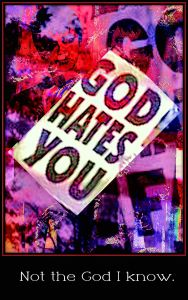 """A picture of a placard at a political ralley that reads """"God Hates You"""""""