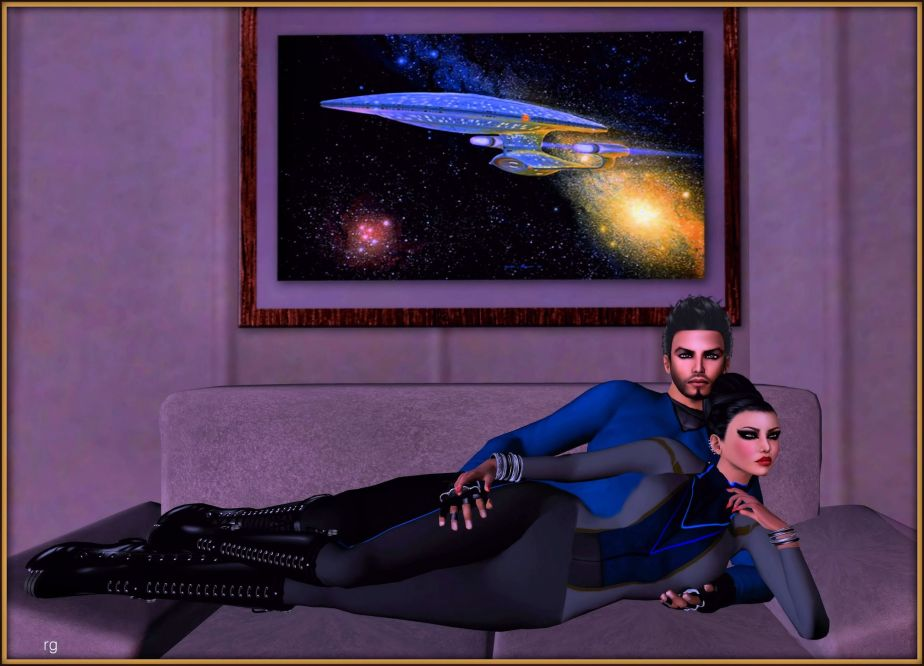 A Screenshot of a male and female vatar on a star trek set in Virtual Reality