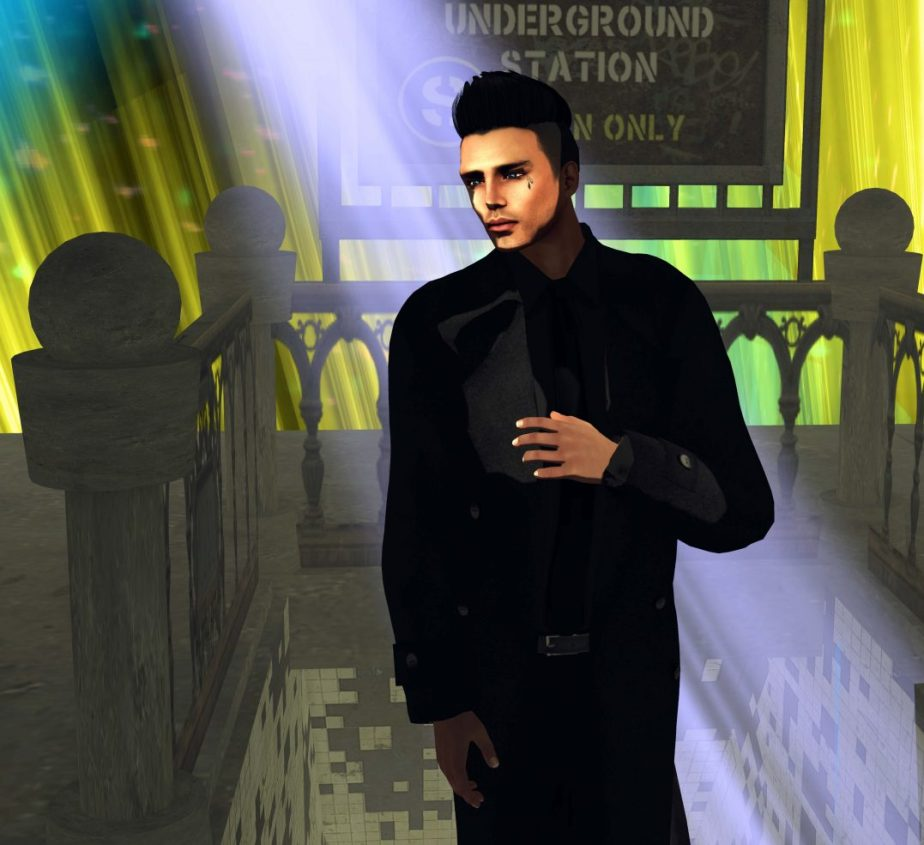 Hgh resolution digital photograph of a make avatar standing at the entrance to a virtual subway station on moonlit platform