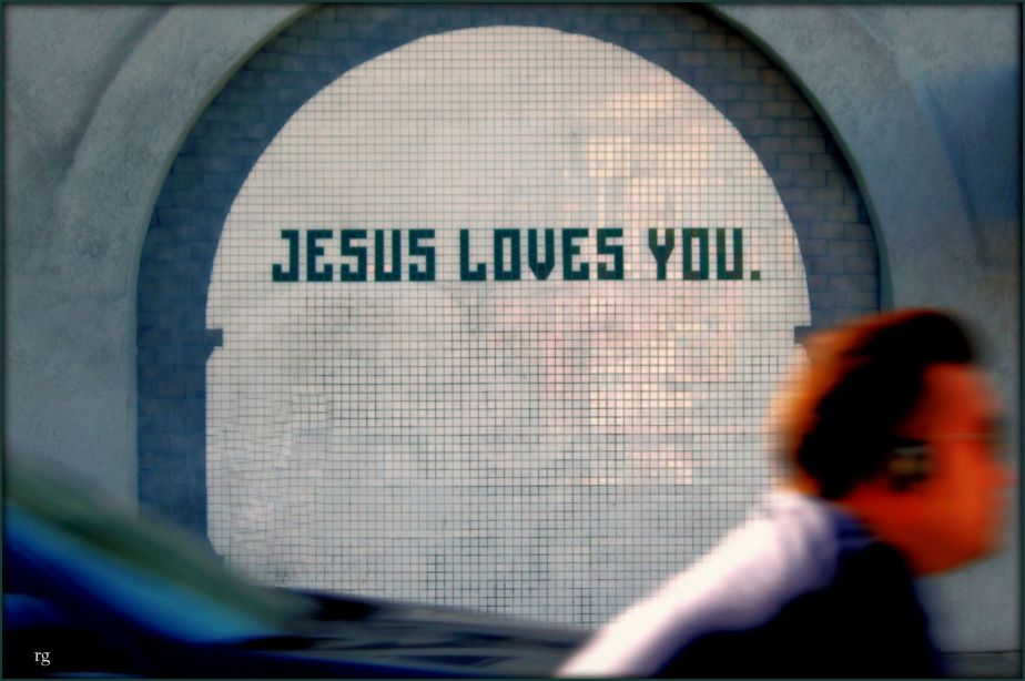Photo of Jesus Loves You in a mosaic on Valencia Street