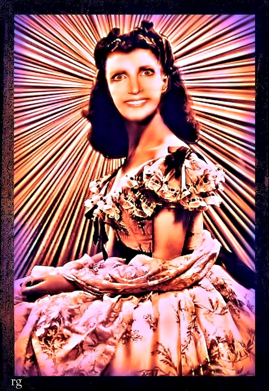 Photo merge of Ann Coulters face on Scarlett O'Hara's body with the caption 'Our Blacks are So Much Better than their Blacks'