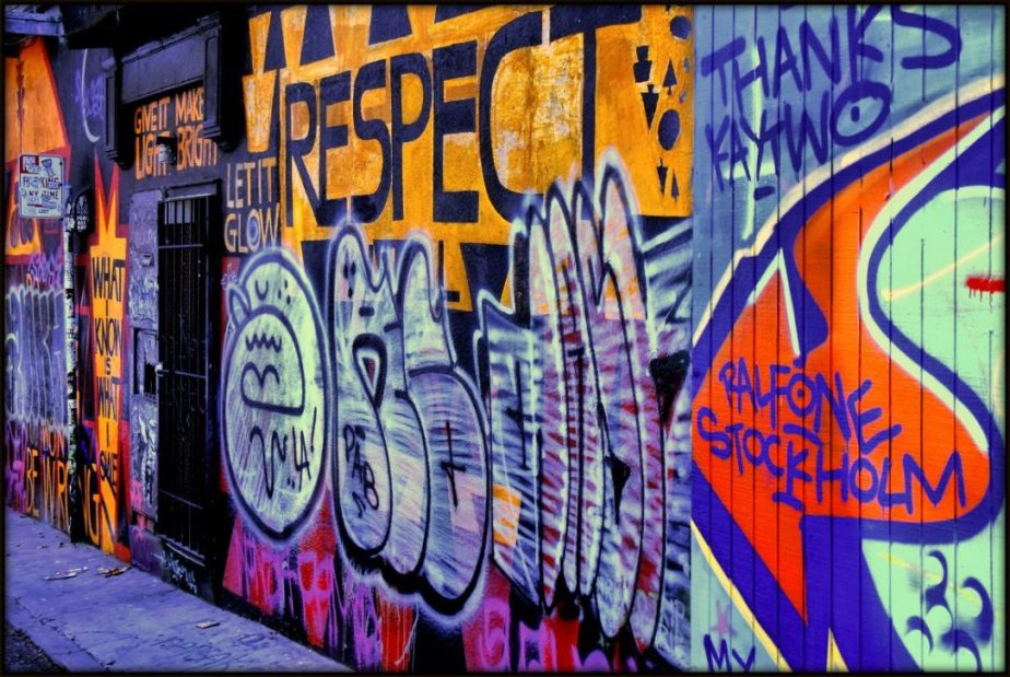 Graffiti in Clarion alley, San Francisco, the word Respect painted on a fence