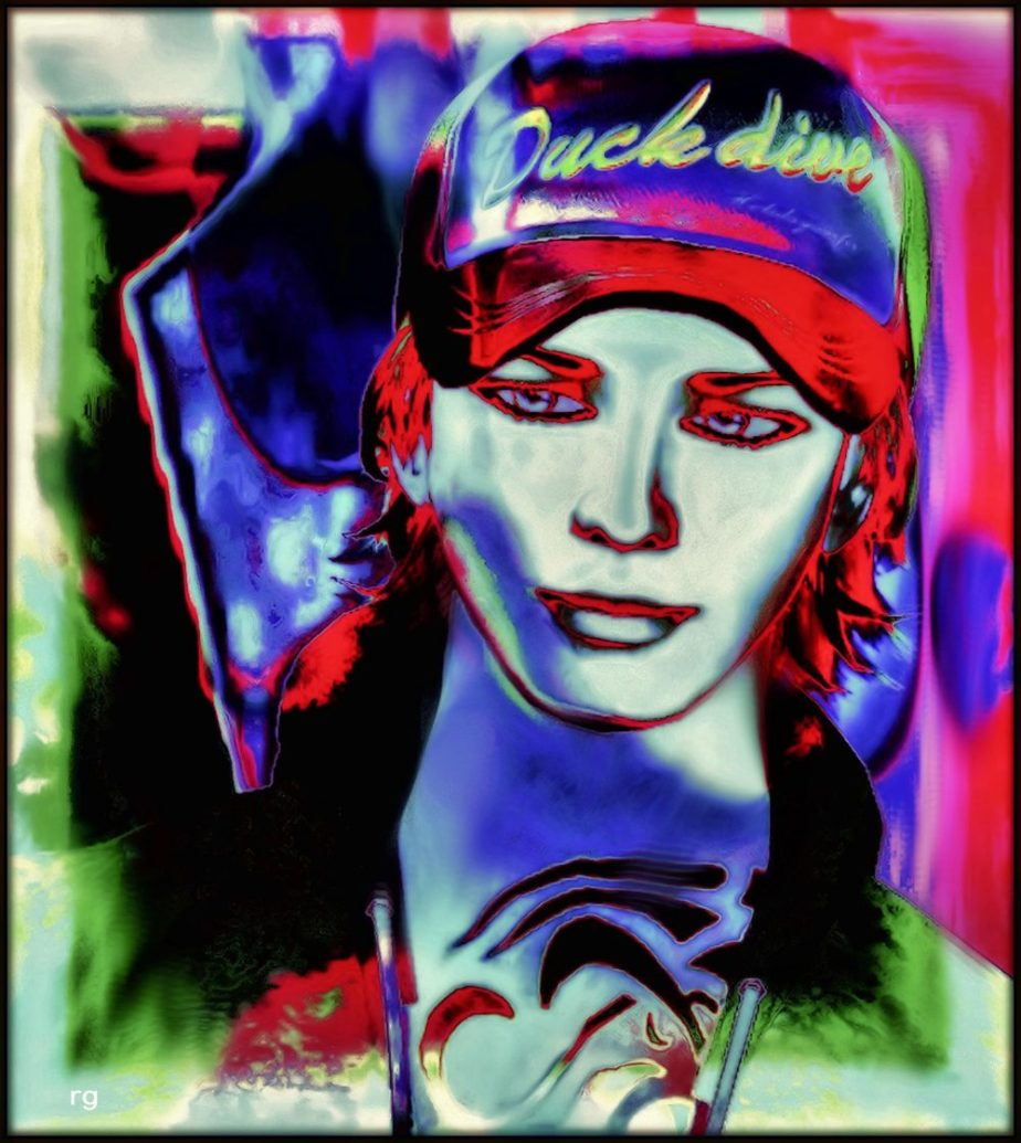 Digital portrait of teen aged boy in a blue and red cap