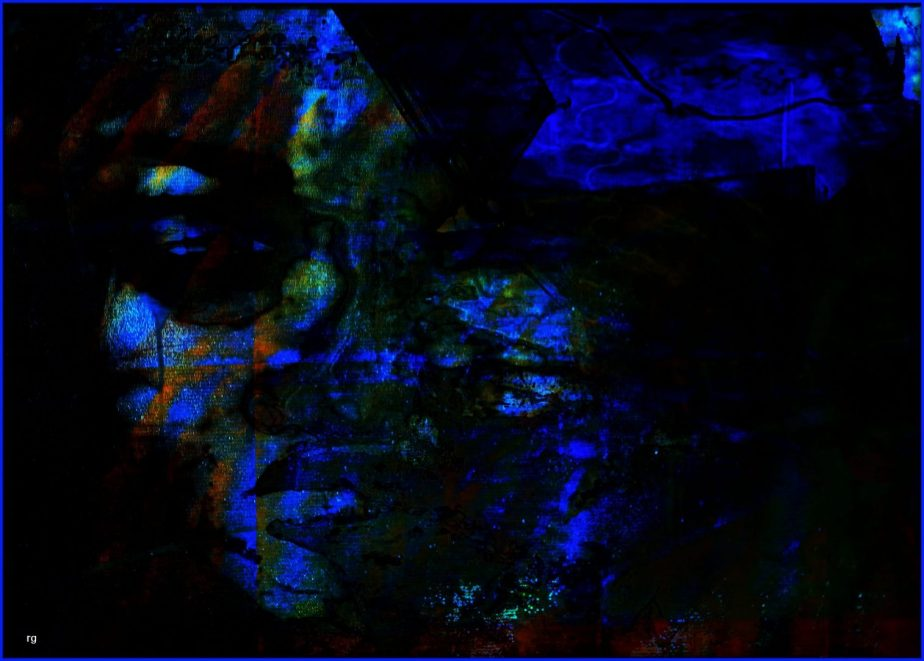 a Digital painting of a face in shadows colored in black and blue
