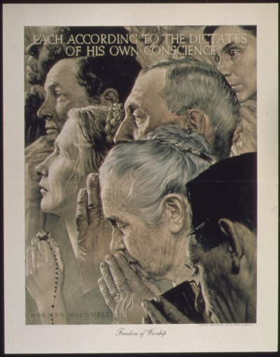 """""Freedom of Worship"" - NARA - 513537"" by Norman Rockwell - U.S. National Archives and Records Administration. Licensed under Public Domain via Commons - https://commons.wikimedia.org/wiki/File:%22Freedom_of_Worship%22_-_NARA_-_513537.jpg#/media/File:%22Freedom_of_Worship%22_-_NARA_-_513537.jpg"
