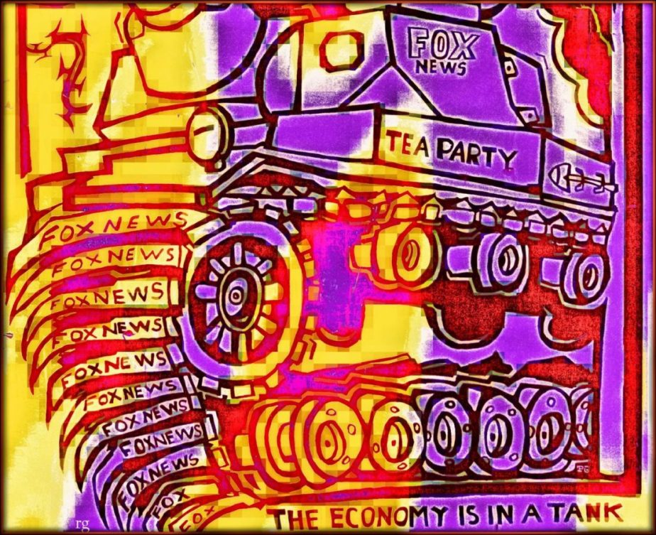 Photograph of a paste up seen in San Francisco that reads: The Economy is in a Tank