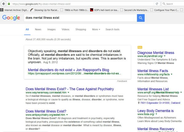 First page Search Result Does Mental Illness exist