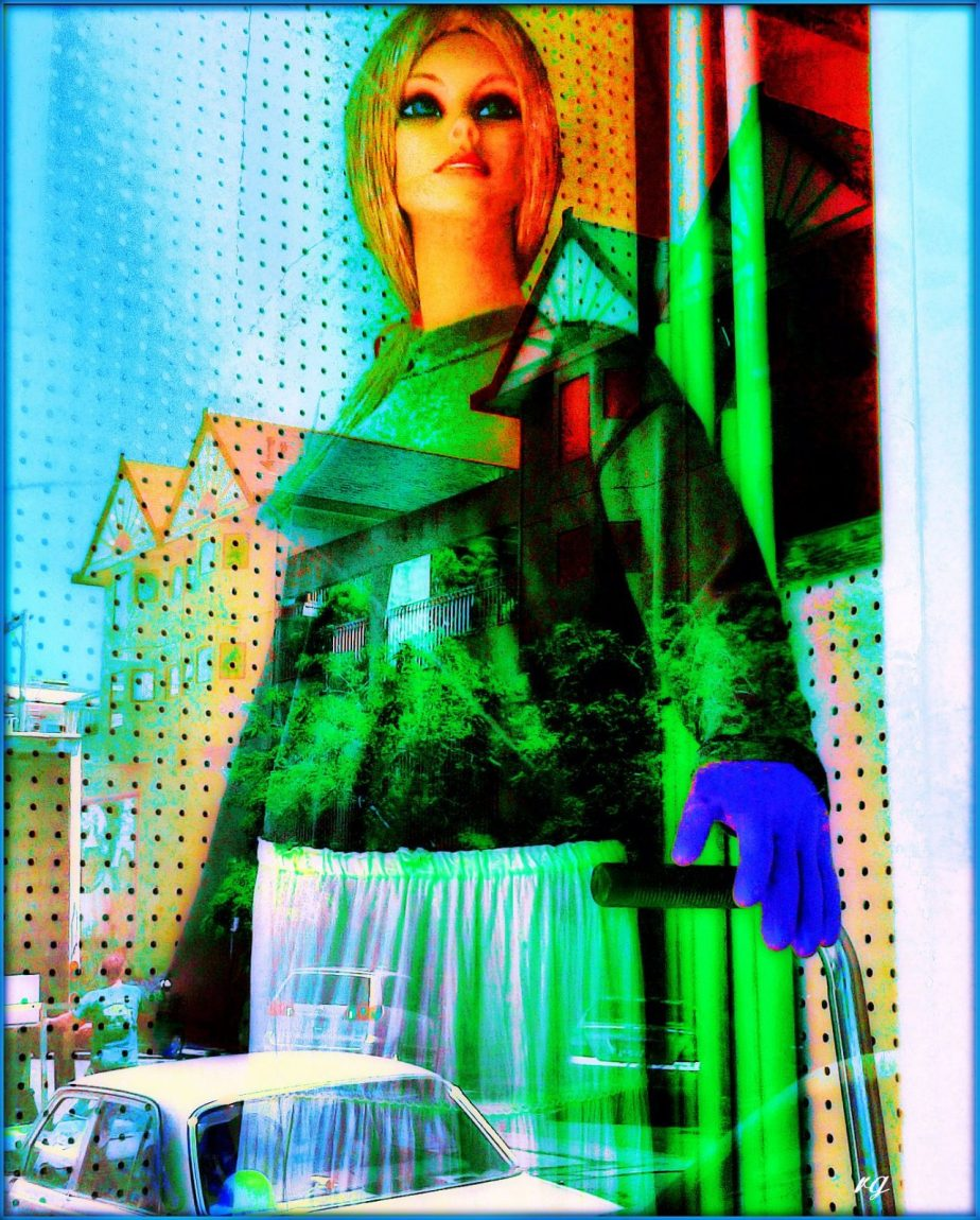 Photograph of a mannequin in a cleaning supply house store window