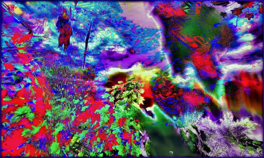 An abstrtact made of different layers of VR foliage and water a entitled with the name of a Jefferson Airplane song