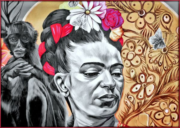 Portrait of Frida Khalo seen on 26th and Mission Streets in San Francisco
