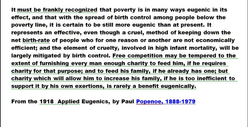 A page from Applied Eugenics by Paul Popenoe, that recommends using poverty to reduce the population of 'inferior people'