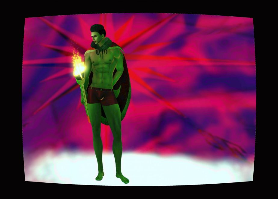 Illustration based on a photo staged in virtual reality that depicts an African-American Avatar as the character of Aryan #5