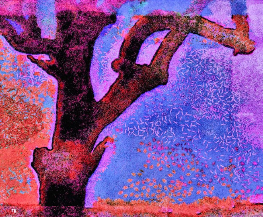 Digial painting of a single bare tree