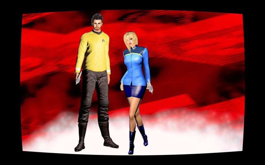 Illustration based on a digital photograph staged in virtual reality that depicts a male and female avatar dressed in star-fleet costumes posing side by side