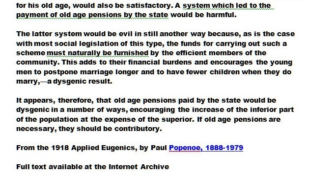A page from Applied Eugenics by Paul Popenoe, that argues against social security because it supports inferior people