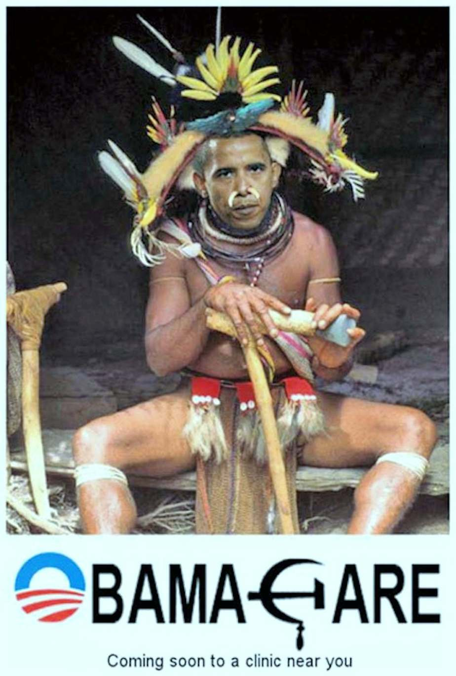 Racist image of President Obama as a witch doctor