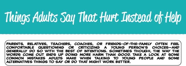 MHA Infographic: Things Adults Say That Hurt Instead of Help