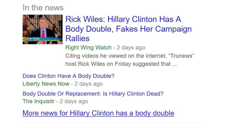 "A screenshot of the search results from Google in response the the query ""Does Hillary Clinton have a body double."
