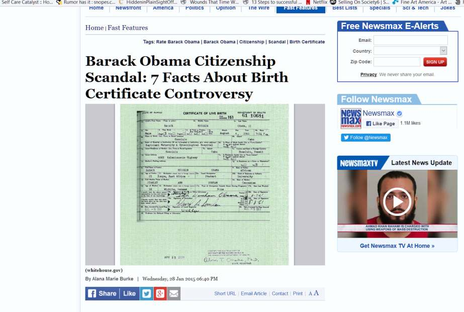 A Newsmax article that implies Obama was born in Kenya