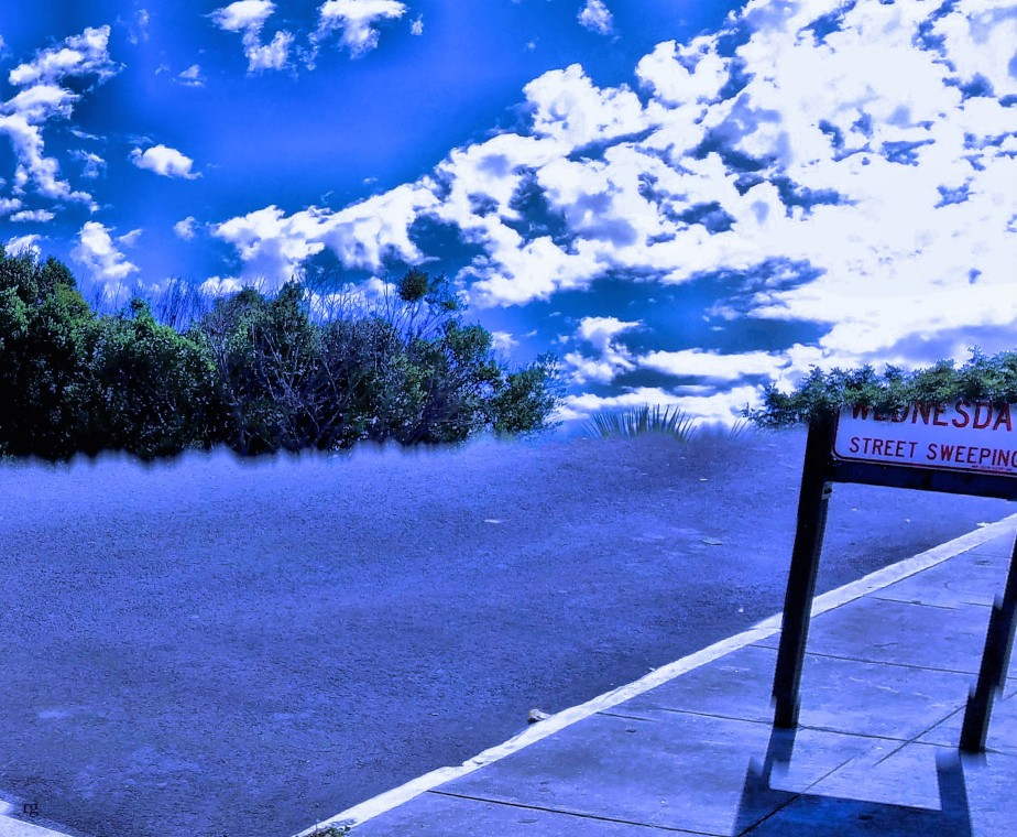 Surralist image of a road that ends in sky