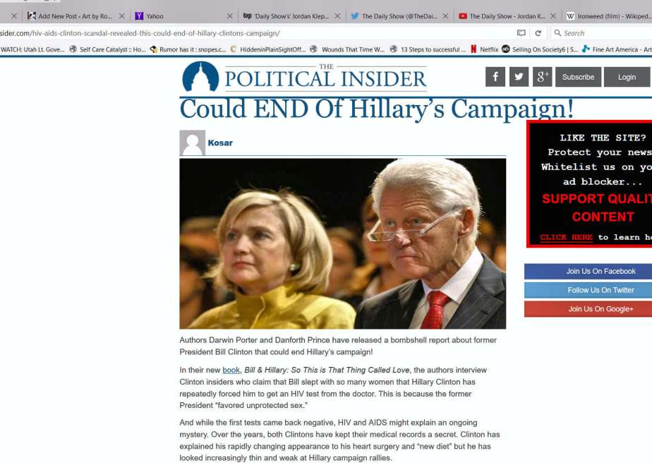 A December 2015 book review in the political insider that suggests that Bill Clinton has AIDS