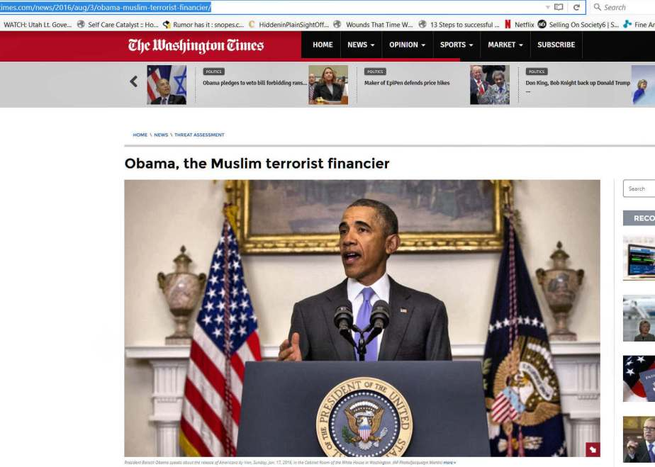 A screenshot of a photo of President Obama with a caption that claims that the president is a terrorist.