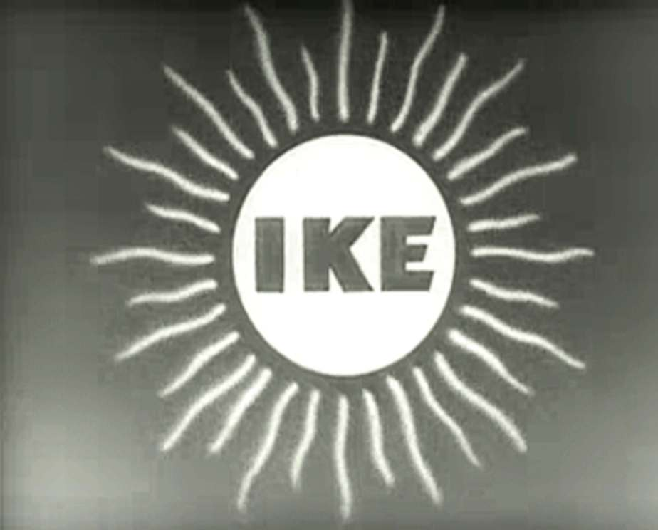 "A screenshot from a 1952 political ad for Eisenhower that depicts the word 'Ike"" is a rising Sun"