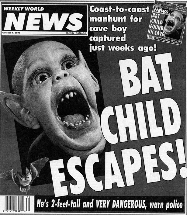 Screen shot ot the Weekly World News bat Child story found on Yahoo