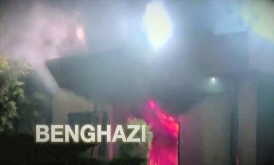 Screen shot from a September 26th 2016 political ad released by the GOP PAC Future 45 that continues to promote the discredited Benghazi Scandal