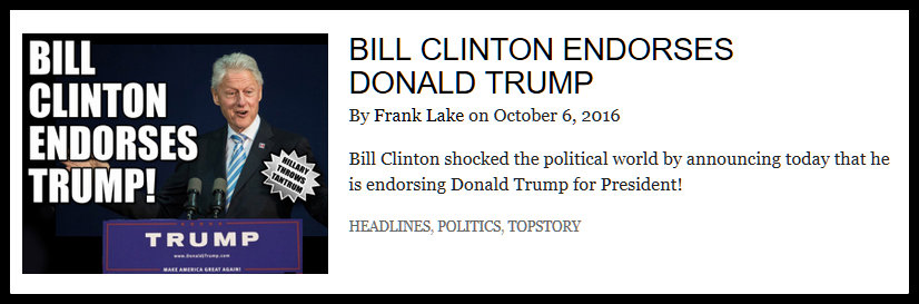 Screenshot from the Weekly World News Online Edition which headlines a story about Bill Clinton's Endorsement of Donald Trump