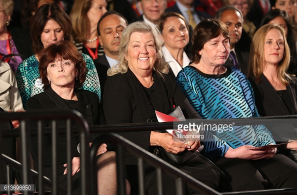Kathleen Willey, from left, Juanita Broaddrick, and Kathy Shelton sit Photographer: Daniel Acker/Bloomberg