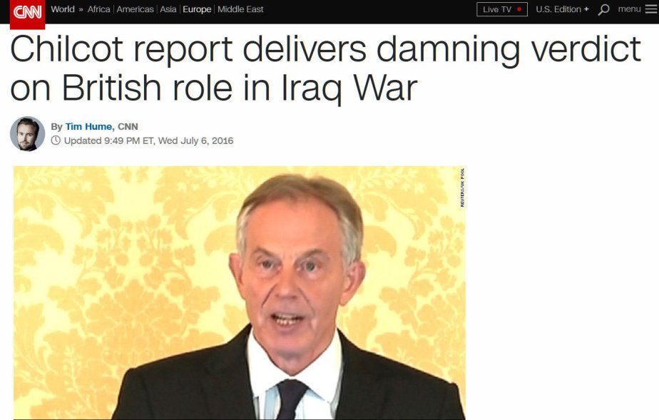 Screenshot of CNN on the Chilcot Report on Iraq