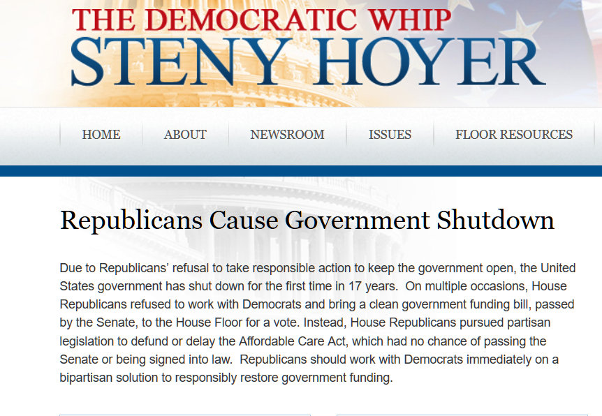 Screenshot of news item over government shut-down by GOP
