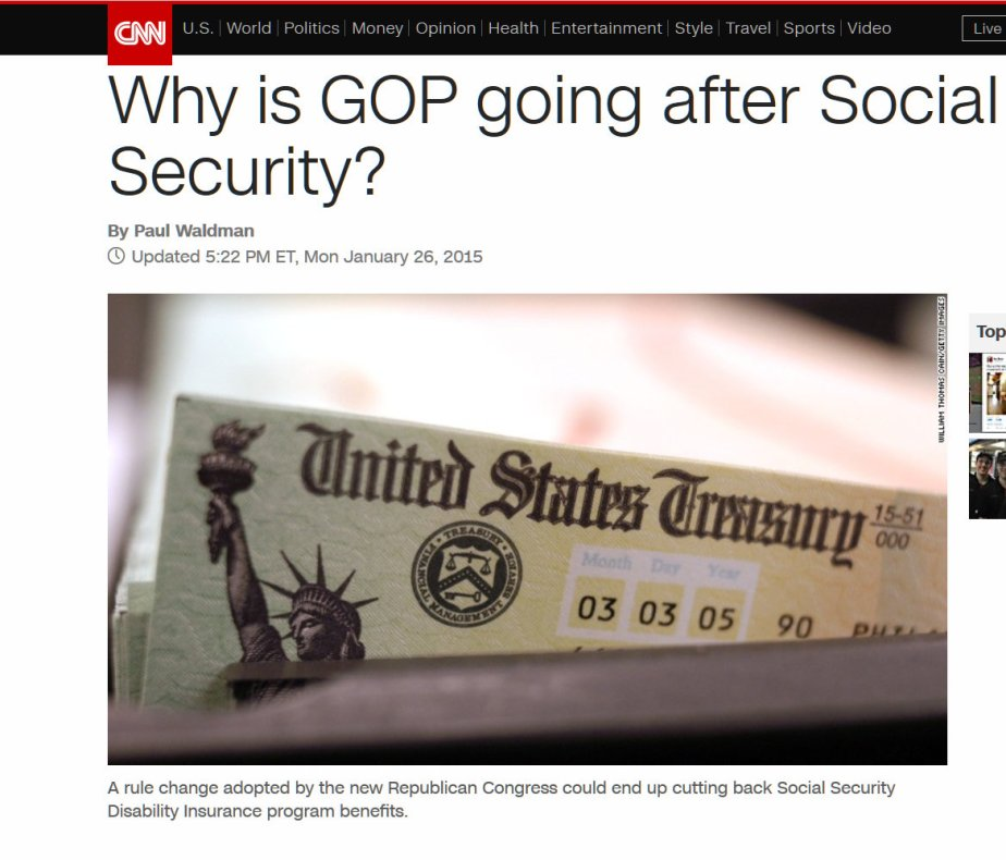 CNN Screenshot regarding the GOP and Social Security