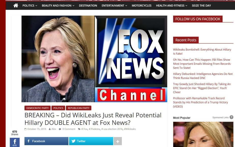 Wikileaks Bombshell, Hillary has a double agent at Fox News