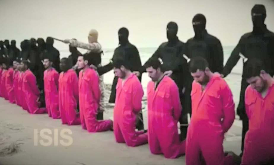 Screen shot from a September 26th 2016 political ad released by the GOP PAC, Future 45 which shows Isis hostages just before execution.