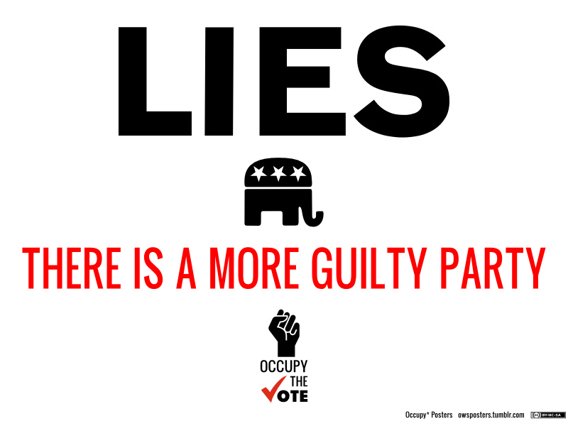A 2011 Occupy Poster that says that the Republicans are more guilty of lying than the Democrats