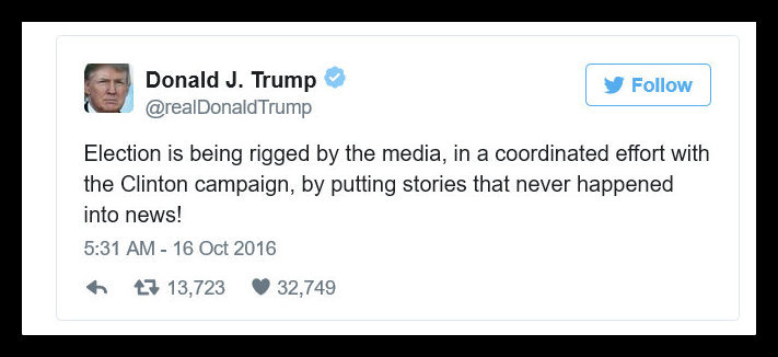 Screenshot of a Trump Tweet alleging that the Election is rigged