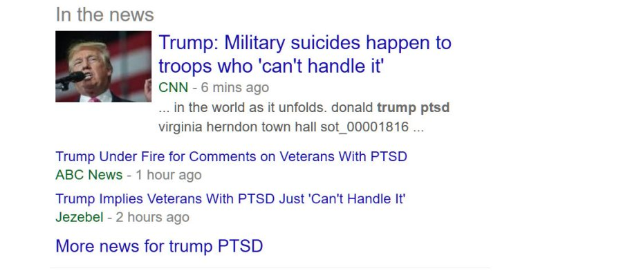 A screeenshot of Trumps comment that men with PTSD are weak