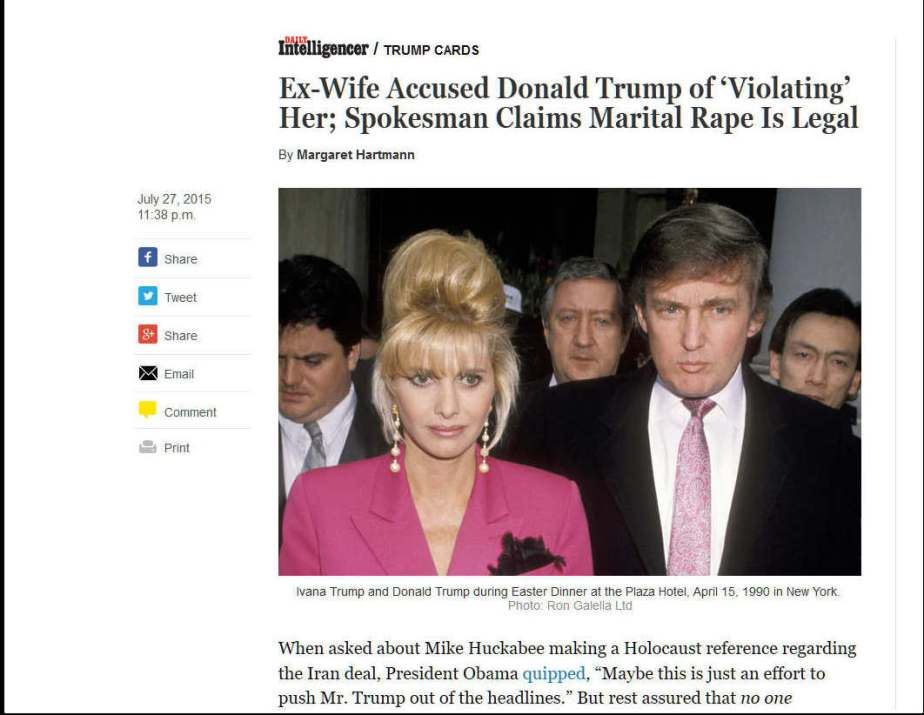 Screen shot of NewYork Magazine's coverage of Ivana Trump's rape allegation against Donald Trump