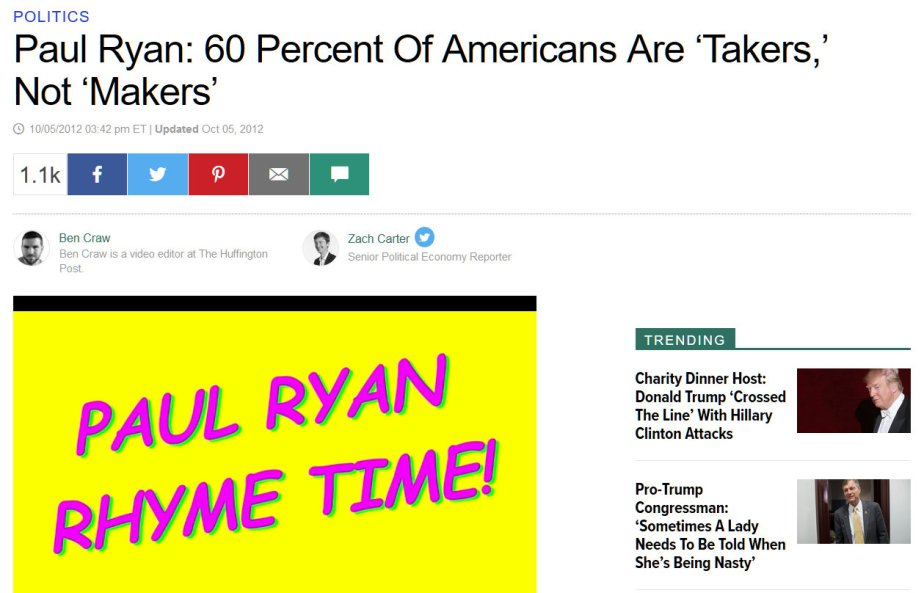 Screenshot of a Huffington Post article on Paul Ryan