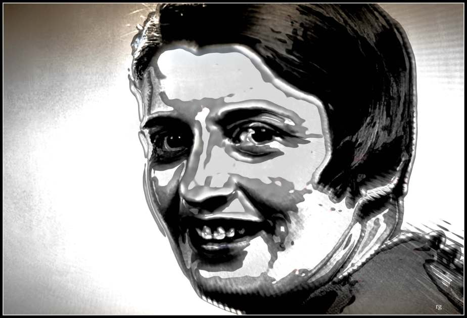Black and White  digital painting of Ayn Rand based on a black and white screenshot of a video that asks why Ayn Rand is still a thing.